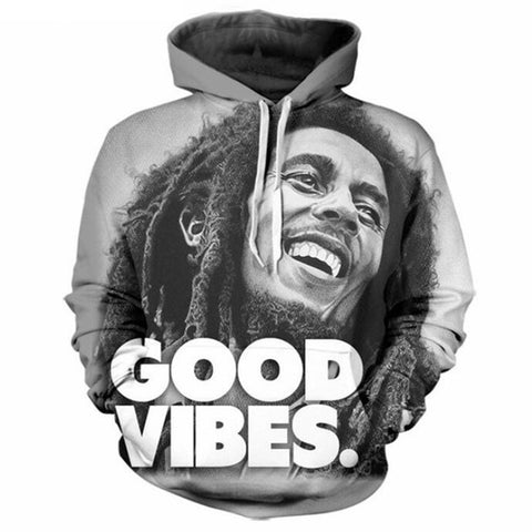3D Bob Marley 'Good Vibes' Hoodie - A Stoners Heaven