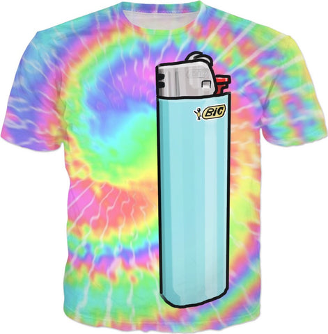 Tie Dye Cartoon Lighter T-Shirt