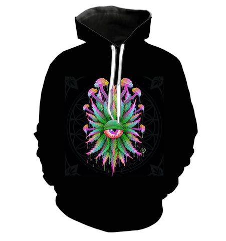 Stoned Mushrooms Black Hoodie