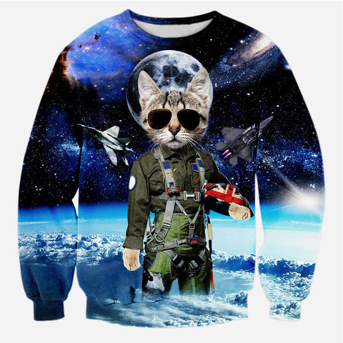 3D Space Cat Sweatshirt - A Stoners Heaven