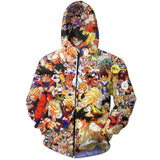 Dragon Ball Z Characters Zip Up Hoodie