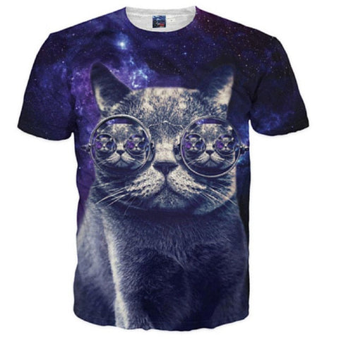 Hipster Cat Galaxy Glasses T-Shirt - A Stoners Heaven