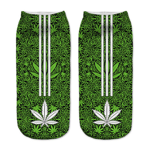 Weed 3 Stripes Women Ankle Socks - A Stoners Heaven