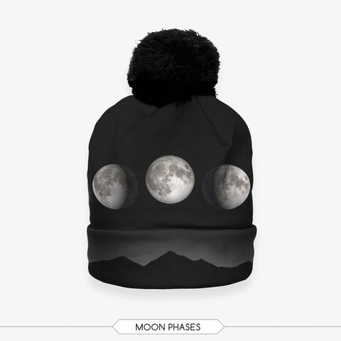 Moon Phases Bobble Beanie Hat - A Stoners Heaven