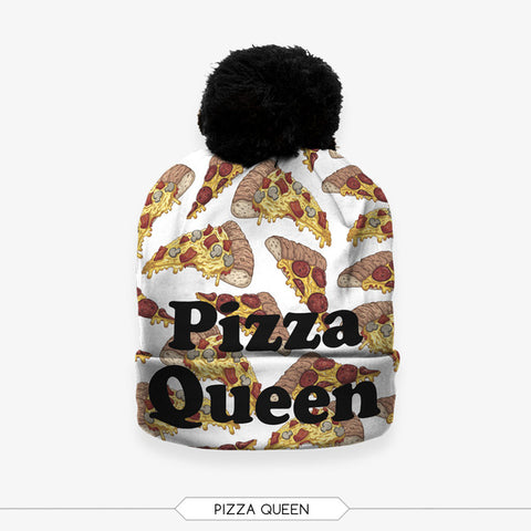 Pizza Queen Bobble Beanie Hat - A Stoners Heaven