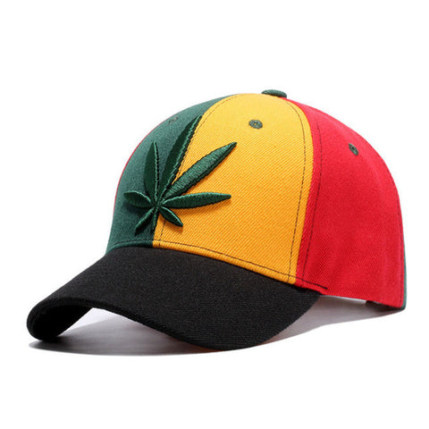 Rasta Color Weed Leaf Baseball Cap - A Stoners Heaven