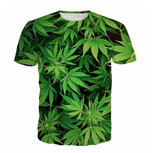 Green Weed Leaves T-Shirt - A Stoners Heaven