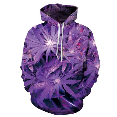 3D Purple Marijuana Leaves Hoodie - A Stoners Heaven