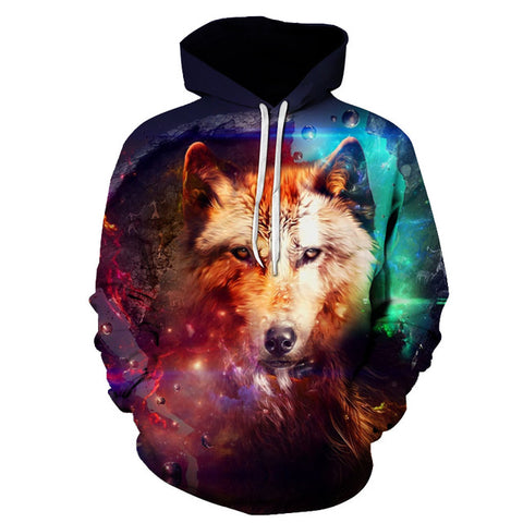 3D Galaxy Wolf Close Up Hoodie