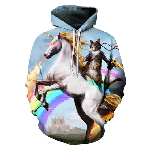 3D Cat Riding Unicorn Hoodie
