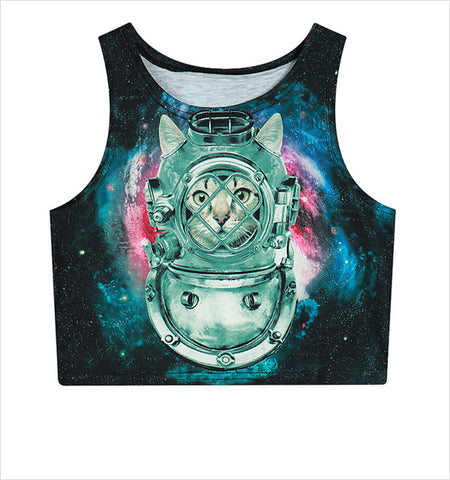 Cat Galaxy Crop Top