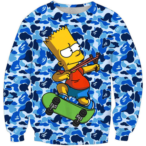 Bart Simpson Blue Camo Sweatshirt