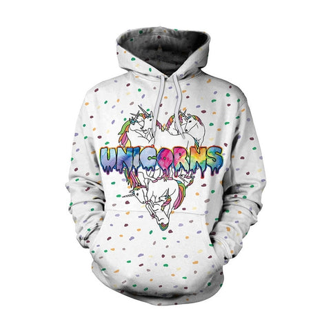 Rainbow Unicorn Heart White Hoodie