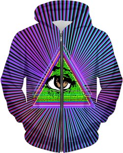 Trippy All Seeing Eye Zip Hoodie
