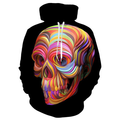 3D Painted Colorful Skull Hoodie