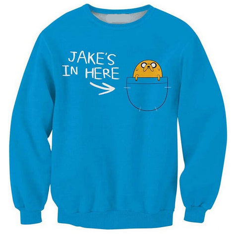 Adventure Time Jake In Pocket Sweatshirt