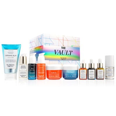 Ultimate Vault Collection Kit 2019 square box, with protective outer sleeve. Kit contents lined up from left to right include Ceramic Slip, Good Genes, A+ Serum,  CEO Serum, CEO Cream, Tidal, CEO Glow, Luna, Juno, and Auto Correct.