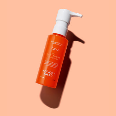 Orange background, product image of CEO Cleansing Oil