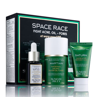 Space Race Kit, UFO face oil, Martian toner and Saturn Mask tube
