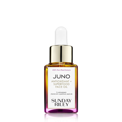 Juno Antioxidant and Superfood face oil, yellow to pink gradient glass bottle with silicon dropper