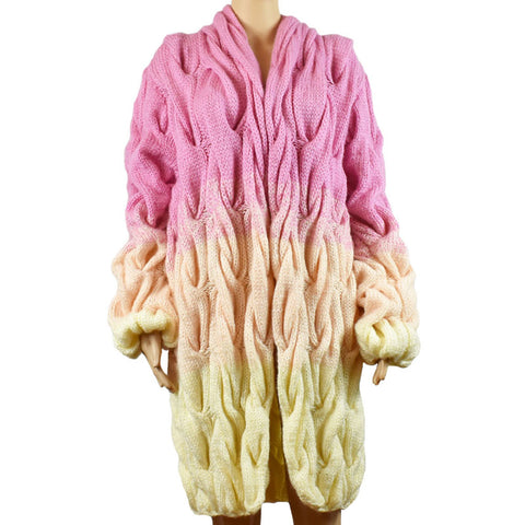Rasnela Fox Handmade Wool Cardigan Knitted Wool Coat Knitwear Medium