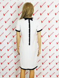 Erotic Academy White and Black Summer Retro Vintage Dress Back Black Ribbon Small
