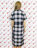 Erotic Academy White And Black Plaid Pattern Short Sleeves Retro Elegant Dress Round Neck Small