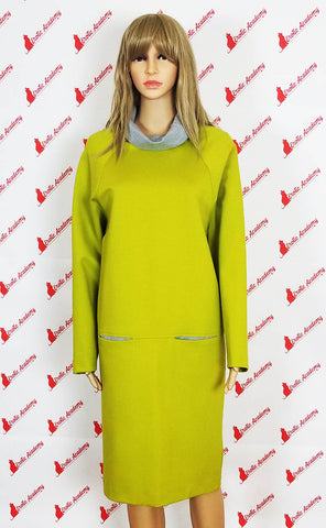 Erotic Academy Wide Turtleneck Long Sleeve Casual Fashion Elegant Office Dress Khaki Medium