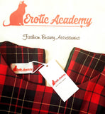 Erotic Academy Red Plaid Pattern Vintage Dress Long Sleeve Round Neck Back Zipper Medium