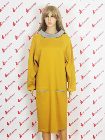 Erotic Academy Wide Turtleneck Long Sleeve Casual Fashion Elegant Office Dress Yellow Medium