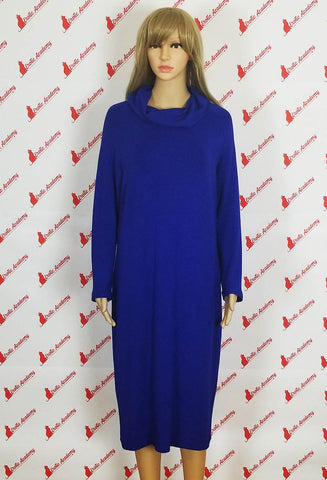 Erotic Academy Wide Turtleneck Long Sleeve Casual Fashion Elegant Office Dress Blue Medium