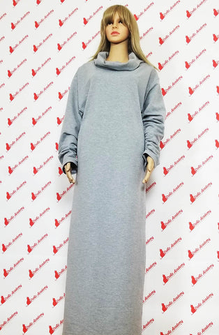Erotic Academy Wide Turtleneck Long Sleeve Casual Fashion Elegant Office Dress Gray Medium
