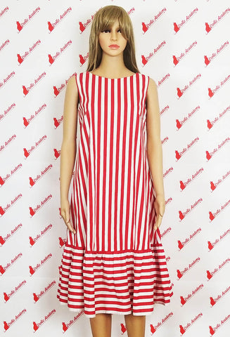 Erotic Academy Red and White Stripe Print Sleeveless V Back Summer Dress Medium