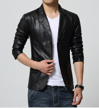 New Brand Men\u0027s Blazer Jacket Men Soft PU Leather Coat Male Fashion Khaki  Blazer Masculino Slim Fit Suit Style Casual Blazers