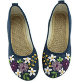 Women Flower Flats Slip On Cotton Fabric Casual Shoes Comfortable Round Toe Student Flat Shoes Woman Plus Size XWD3644