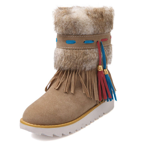 Fashion flat Heel Black Ankle Women Boots Shoes Beaded Plush Suede Nubuck winter Boot Woman tassel warm snow boots AA554