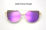 RunBird New Cat Eye Sunglasses Women Brand Designer Fashion Twin-Beams Rose Gold Mirror Cateye Sun Glasses For Female