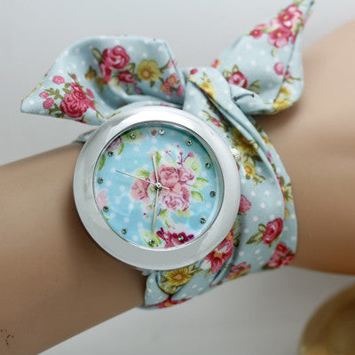 Shsby design  Ladies flower cloth wristwatch fashion women dress watch high quality fabric watch sweet girls Bracelet  watch
