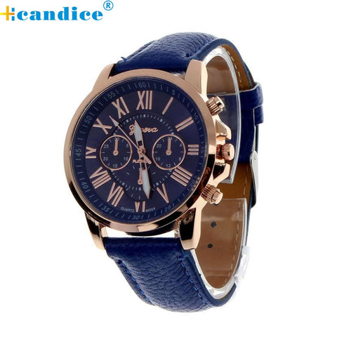 Fabulous hot sale analog quartz faux leather beautiful Roman numeral watch women wrist watches