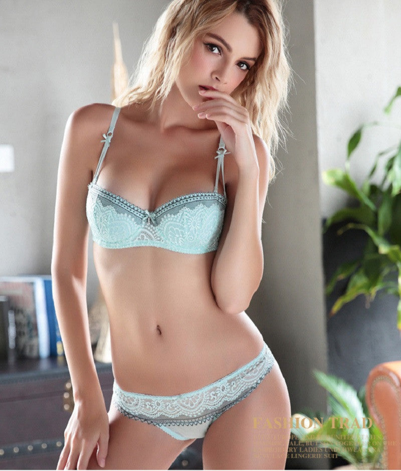 Pretty girl with stud bra and panties can