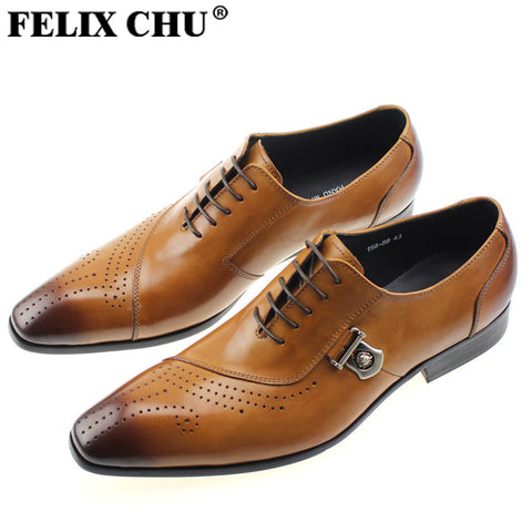 FELIX CHU Luxury Italian Designer Black Brown Brogue Genuine Leather Lace Up Mens Formal Dress Party Office Wedding Shoes 188-89