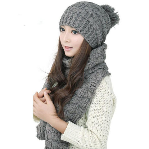 1Set Women Scarf Hats Fashion Warm Winter Woolen Knit Hood Shawl Caps Suit  Shipping
