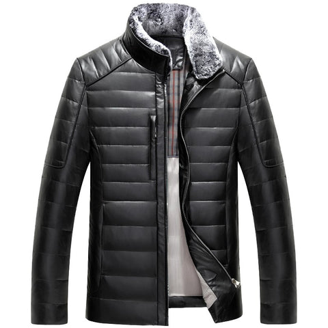 Luxury Men winter leather jacket men short slim Mink Collar Man Winter Down Coat thick leather Jackat
