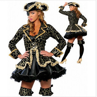Medieval DELUXE LADIES PIRATE caribbean Fancy dress UP Party costume+Hat priate costume outfit