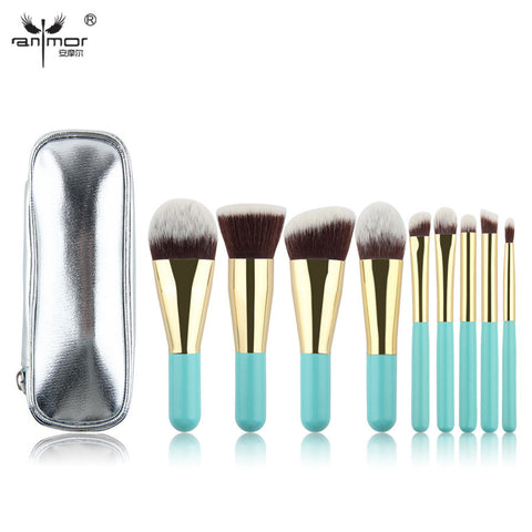 Hot Sale 9 Pieces Synthetic Hair Makeup Brushes with Sliver Color Bag Beautiful Traveling Makeup Brush Set