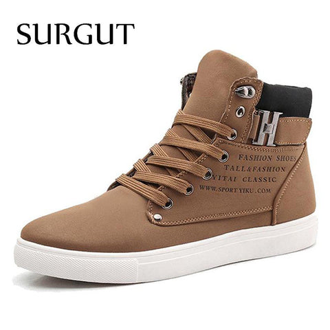 SURGUT Men Shoes Fashion New Winter Front Lace-Up Casual Ankle Boots Autumn Shoes Men Wedge Fur Warm Leather Footwear
