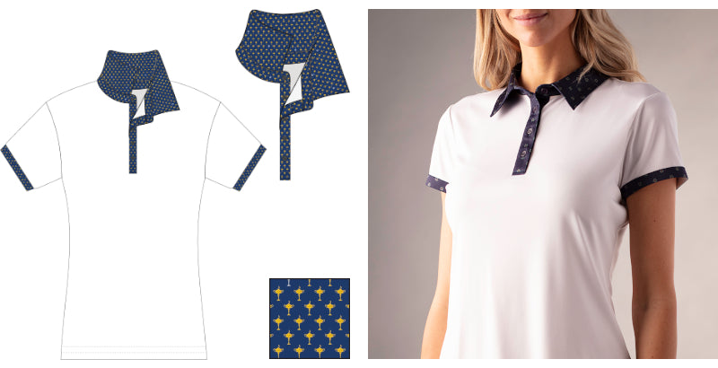 Ryder Print Ladies' Solid Polo with Print Detail