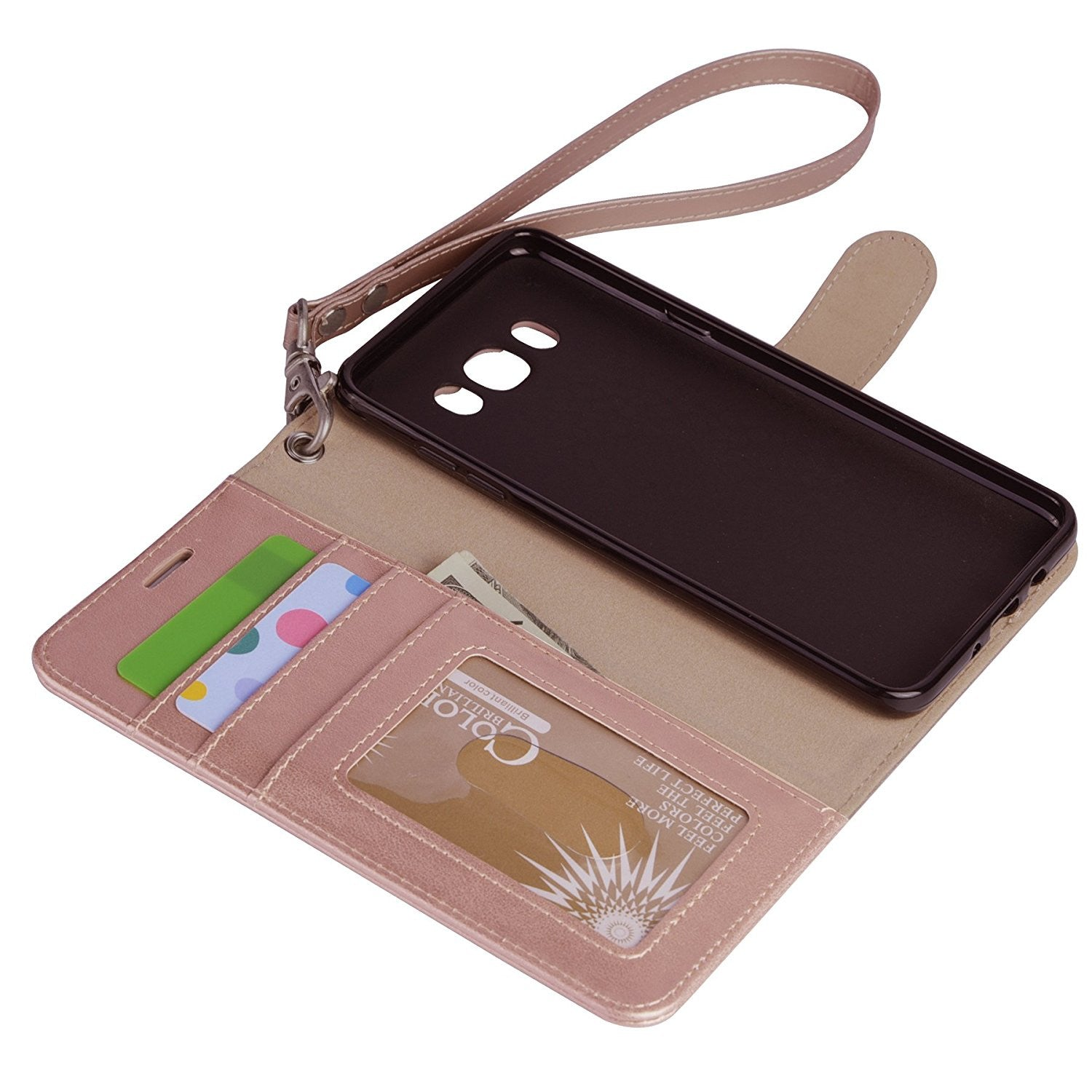 Galaxy J7 wallet Case with Kickstand and Flip cover, Rosegold