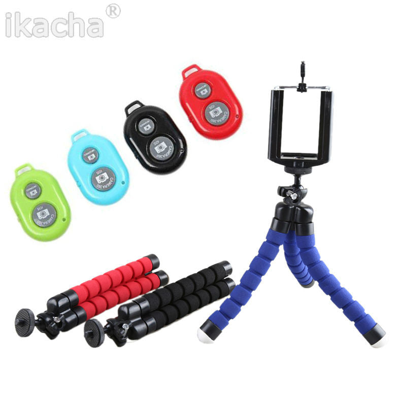 3in1 Car Phone Holder Wireless Bluetooth Remote Tripod Octopus Selfie Holder