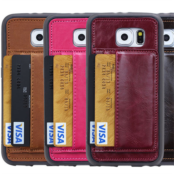 Simple Wallet Style Cover For Samsung Galaxy S6/ Samsung S6 Edge Plus Capa WIth 2 Card Pocket Shell